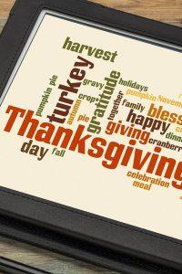 Thanksgiving celebration cloud word